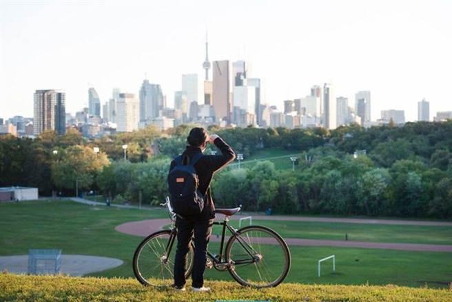 在多倫多河谷公園(Riverdale Park)遠眺城市天際線。 圖:多倫多旅遊局╱提供