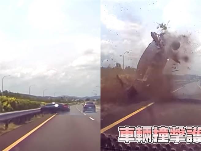 整輛車撞上分隔島後360度翻轉,坐在副駕的17歲女友因未繫安全帶整個人噴飛,行車紀錄器錄下驚悚一瞬間。(翻攝自國道公路警察局臉書粉絲專頁)