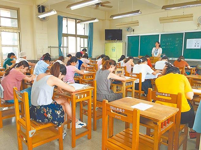 教育處證實原訂7月辦理招聘24名幼教師的甄試研擬停辦。圖為往年嘉義市幼兒園教師甄選筆試,應考踴躍。(本報資料照片)