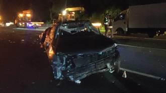 國1造橋段4車暗夜連環追撞  3人輕重傷
