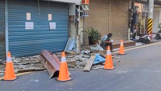 花蓮一早地牛翻身近20次 市區2樓建築水泥圍牆剝落墜地