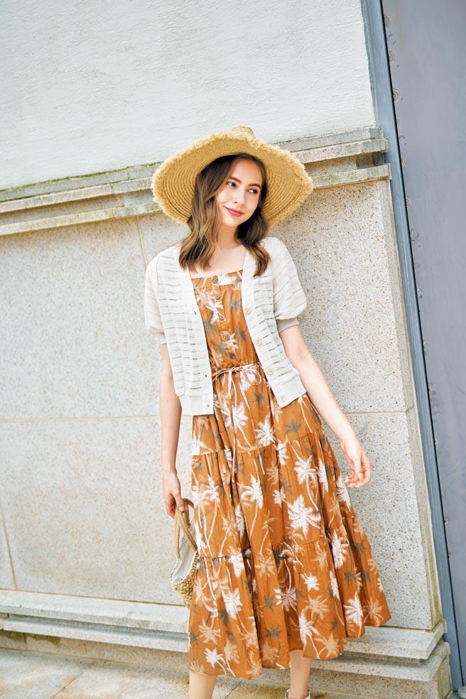 新光三越「JO-AN夏日椰影長洋裝」,原價4680元、特價2800元,6折。(新光三越提供)