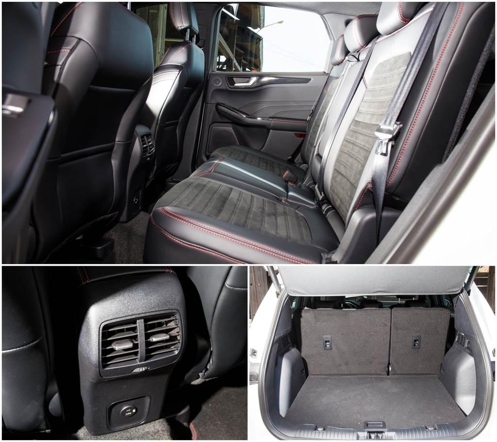 後座提供空調出風口、兩組USB充電口,小缺點是空間由於客貨車認證需求,座椅角度較為挺直、膝部空間也較小。