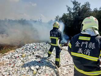 金門新塘垃圾場再傳火警 起火點疑是堆積風倒木
