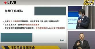 衛福部今赴院會報告「7/26以後警戒措施」:降級並非不可能