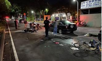 男女騎共享機車追撞單車女 3人慘摔倒地