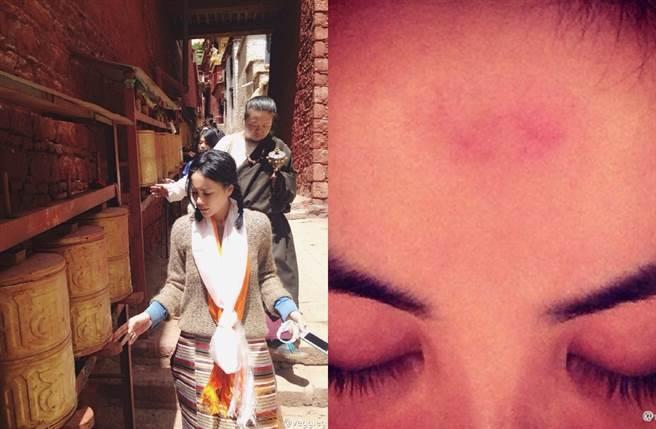 王菲過去曾到西藏,並曬出疑似磕頭後的照片。(圖/翻攝自veggieg微博)