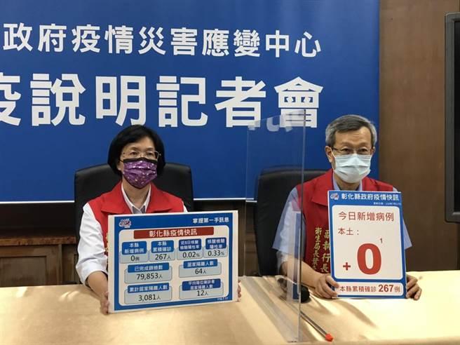 彰化縣長王惠美(左)呼籲縣民,踴躍預約登記,不要只等著造冊,才能讓彰化爭取到更多疫苗資源。(謝瓊雲攝)