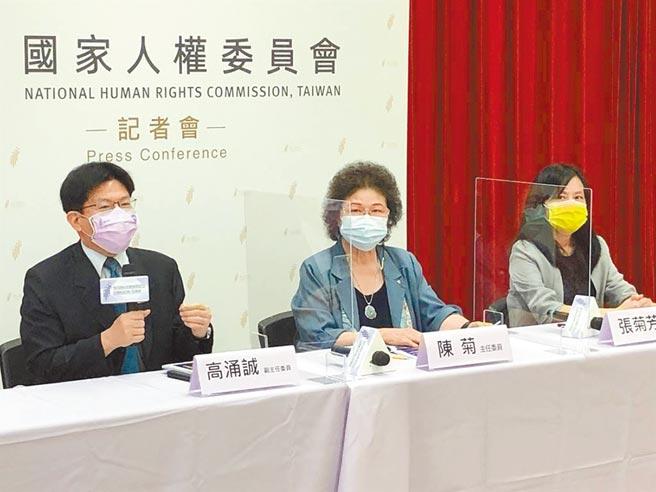 監察院國家人權委員會14日召開記者會「林水泉遭受國家行政不法侵害人身自由案」公布首份人權調查報告。(趙婉淳攝)
