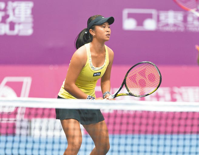 「A妹」謝語倢取得東京奧運網球女雙門票,圖為她在前年參加海碩盃女網賽。(資料照片/海碩運動行銷提供)