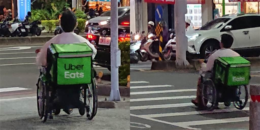 不過其實去年也有1名高雄網友目擊1名外送員騎著「電動輪椅」送餐,熟練地穿梭人潮、車陣,讓目擊者感動表示「拒絕向命運低頭的勇士!」(翻攝自臉書「UberEATS台灣」)