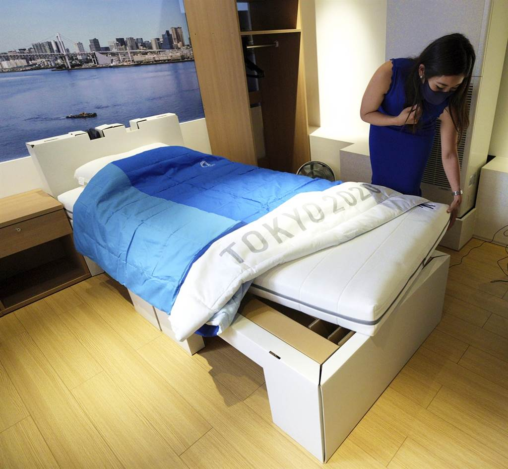 東京奧運為選手準備的床為厚紙板製成。(資料照/美聯社)