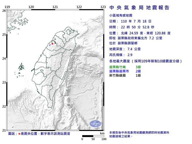 苗栗規模2.9地震 最大震度3級。(圖取自氣象局網頁)