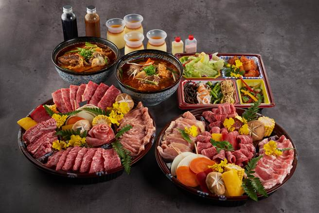 「滿腹大盛燒肉組」的肉盤內有:薄切牛舌、牛五花、腹肉五花、牛肋條、腿三角、中落牛五花、雞頸肉,以及雞腿肉與豬五花。(圖/燒肉的名門·赤虎)