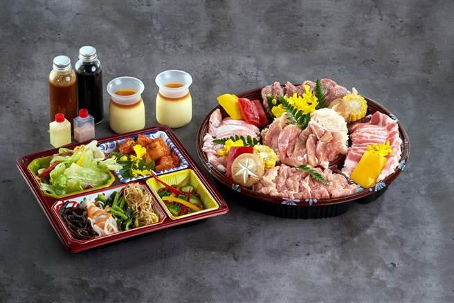 「輕鬆豬雞燒肉組」肉盤內有:豬五花、松阪豬、雞腿肉、鴨胸,竹及雞軟骨、雞頸肉與雞皮。(圖/燒肉的名門·赤虎)