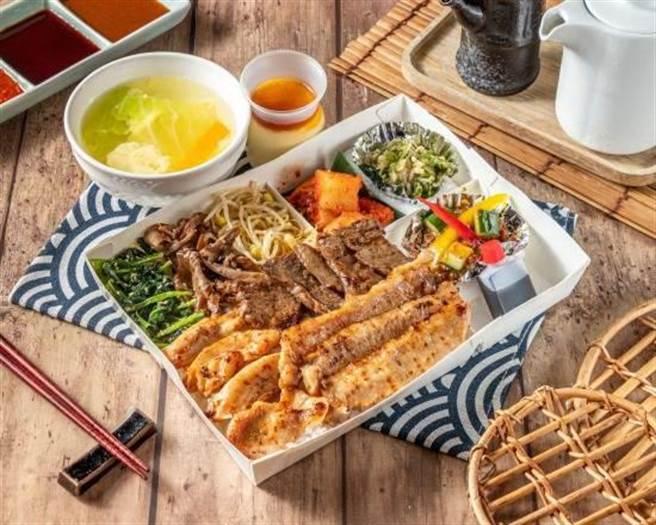 「赤虎三款燒肉便當」內有牛五花、松阪豬與雞腿肉。(圖/燒肉的名門·赤虎)