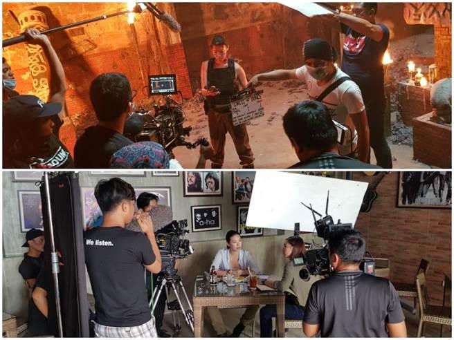 張學仁拍攝電影《Circle of Bones》片場。(凱特文化經紀提供)