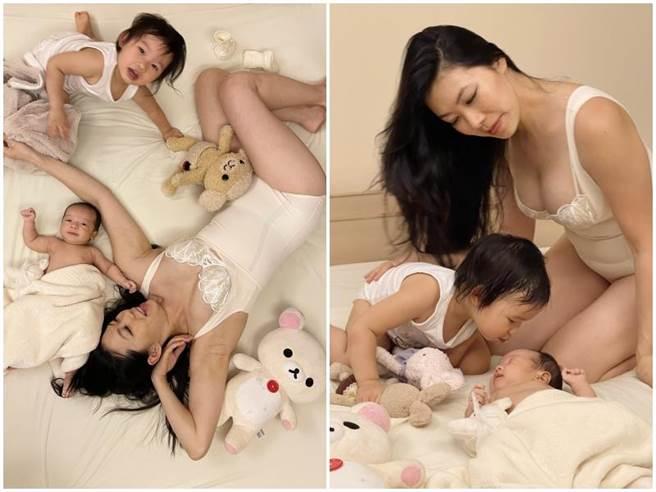張學仁帶2個女兒為母嬰品牌拍攝,展露好身材。(凱特文化經紀提供)
