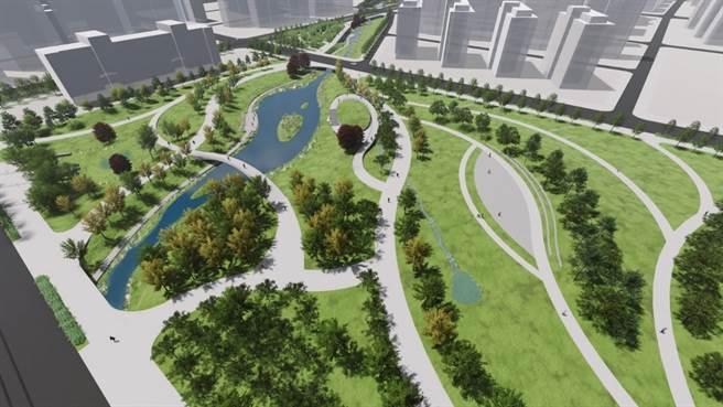 市府配合塭子圳重畫,針對貴子坑溪整體重新營造。圖為願景圖。(新北市水局提供)