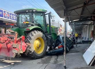 農用曳引車「火犁」輾壓轎車變廢鐵  民驚:比戰車還猛