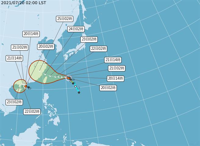 今年第6號颱風「烟花」路徑偏北、逐漸增強。(圖取自氣象局網頁)