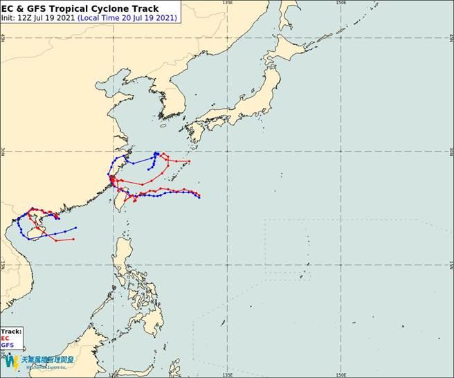 最新歐美模式預測,烟花颱風路徑登陸台灣北部。(翻攝自彭啟明臉書)