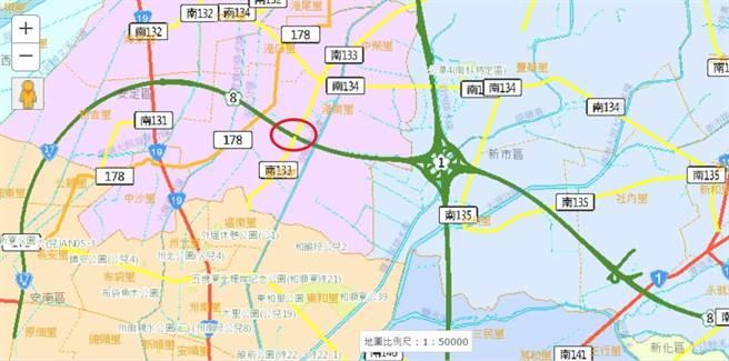 國道8號南133線路口改善交流道可行性研究初核審議過關。(台南市工務局提供/曹婷婷台南傳真)