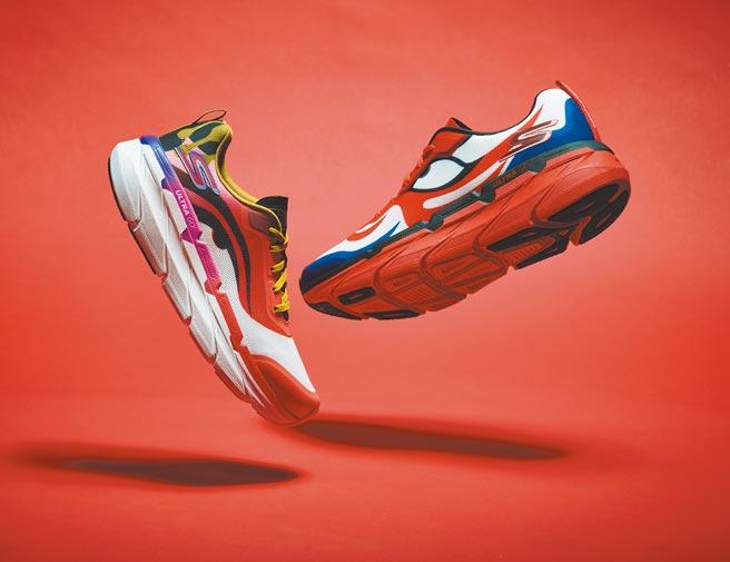 「KANSAI YAMAMOTO × SKECHERS」聯名球鞋呈現山本寬齋鮮豔奔放的設計精神。(寬齋Super Studio提供)
