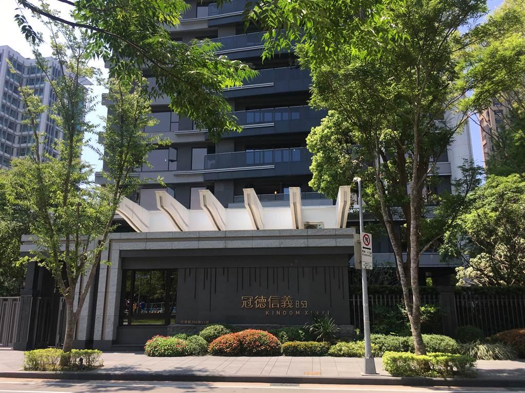 「冠德信義」6月9樓成交3.4億元,買方無貸款購入。(台灣房屋提供)