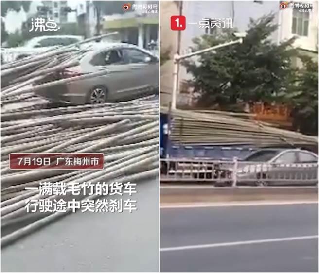 小貨車看到障礙物緊急剎車,後方的毛竹便刺穿前車的擋風玻璃。(圖/微博@沸點視頻)