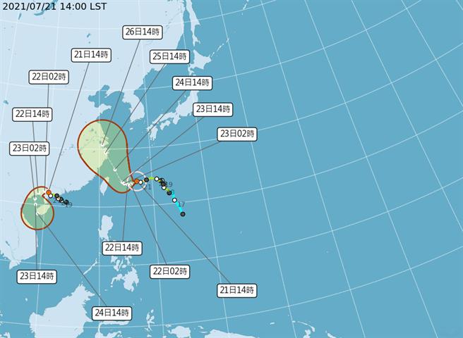 烟花颱風路徑潛勢預報。(圖/氣象局)