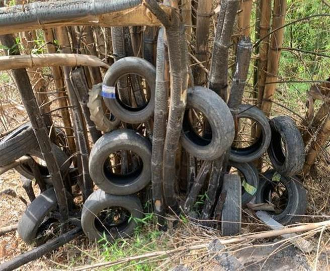 簡姓農民以火耕燒輪胎、種植竹筍,遭警方依法送辦。(警方提供)