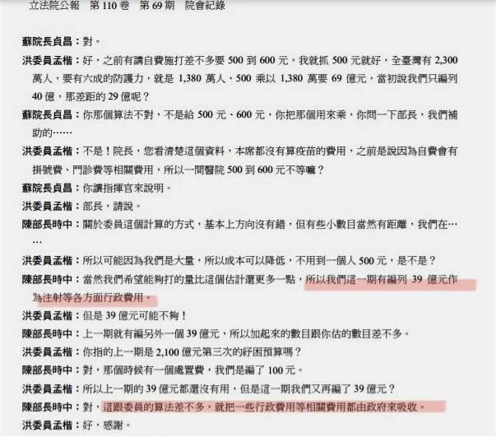 根據立法院今年6月8日的院會紀錄,陳時中明確表示已在2次紓困預算中,各編列39億、總計78億,要吸收各醫療院所協助施打疫苗的行政費用。(照片來源:國民黨立委洪孟楷提供)