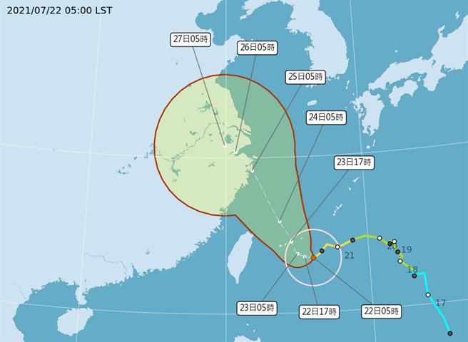 中央氣象局發布中度颱風烟花海上颱風警報