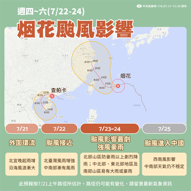 週五、週六是烟花最接近台灣的時候。(中央氣象局提供)