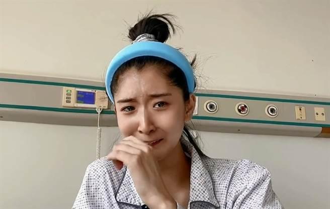 大陸女舞者、網紅蘇日曼胃癌末期,忍不住失聲痛哭。(圖/抖音@蘇日曼)