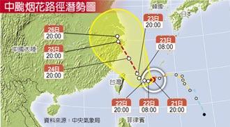 中颱烟花路徑北移續增強 今恐發陸警