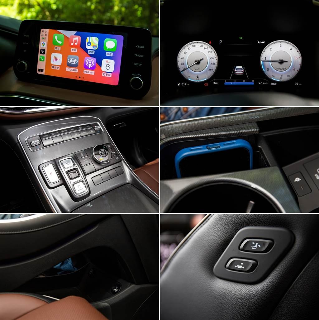 提供包含Apple CarPlay、手機無線充電等實用機能,另外也少見的在前乘客座側邊提供「老闆鍵」,讓駕駛、後座乘客都能調整前座位置。