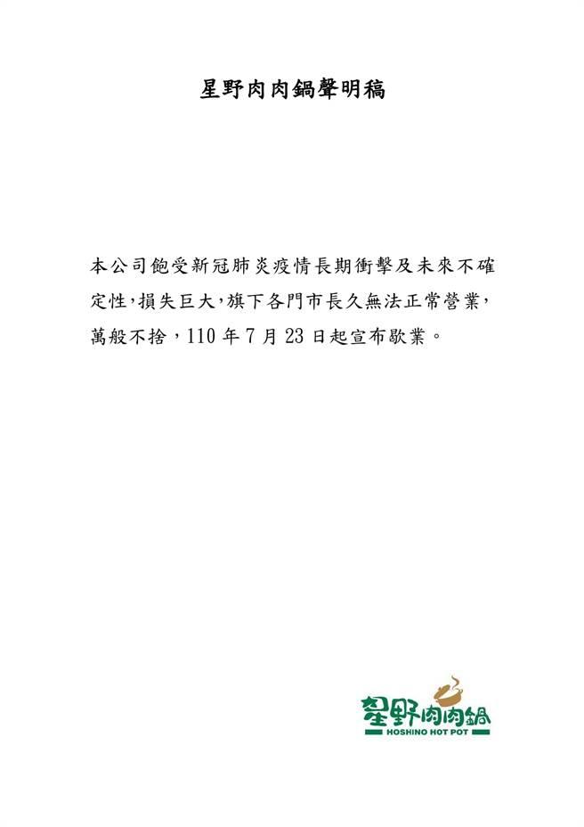 泉成集團底下的星野肉肉鍋也宣布停業。(圖/讀者提供)