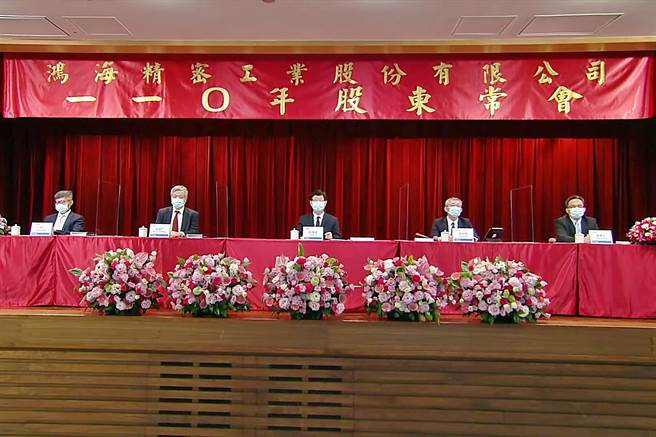 鴻海23日召開股東常會,由董事長劉揚偉(中)主持。(林資傑攝