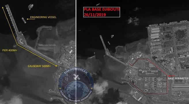 中國大陸在吉布地建造軍港規模不斷擴大,目前已打造出足以停靠航空母艦的碼頭,中共海軍的大型艦艇都可以在當地軍港停靠補給。圖右顯示是整個營區範圍。(圖/微博@河婆Jason007)