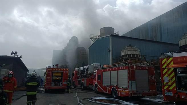 慶欣欣鋼鐵廠烈焰狂燒,上百名員工疏散。(民眾提供/吳敏菁彰化傳真)