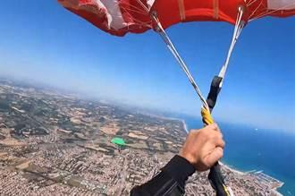 降落傘一開竟打結!他時速270km急墜 驚魂畫面曝