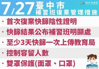 盧秀燕宣布 727後台中補習班有條件實體復業