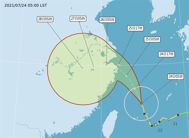 烟花颱風在台北東北東方海面,向北北西移動。(圖取自氣象局網頁)