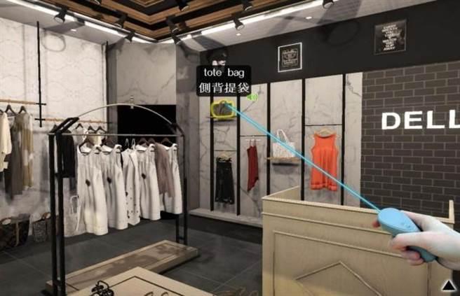 戴爾美語開發VR虛擬實境場景各物件觸及皆有字彙、發音、例句。(台中市政府提供)