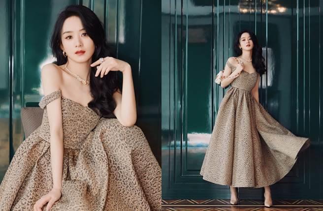 趙麗穎豹紋洋裝展現性感樣貌。(圖/翻攝自微博)
