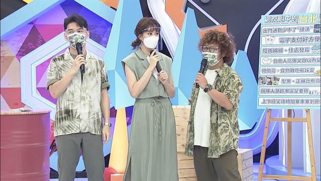主持人阿Ken(左起)、安心亞以及納豆和來賓聊南北差異。 (中天綜合台提供)