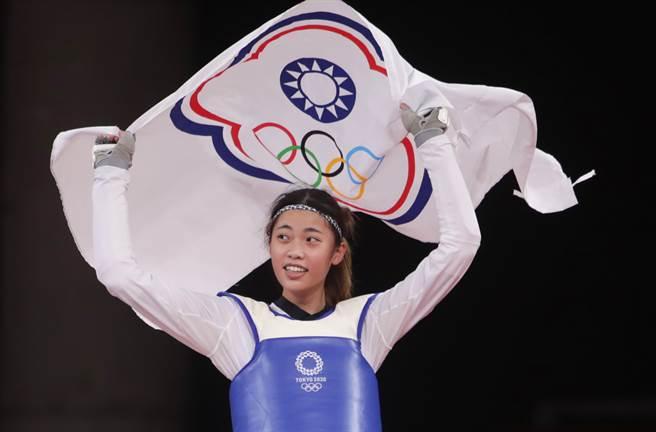 羅嘉翎在跆拳道女子57公斤級摘銅。(季志翔攝)