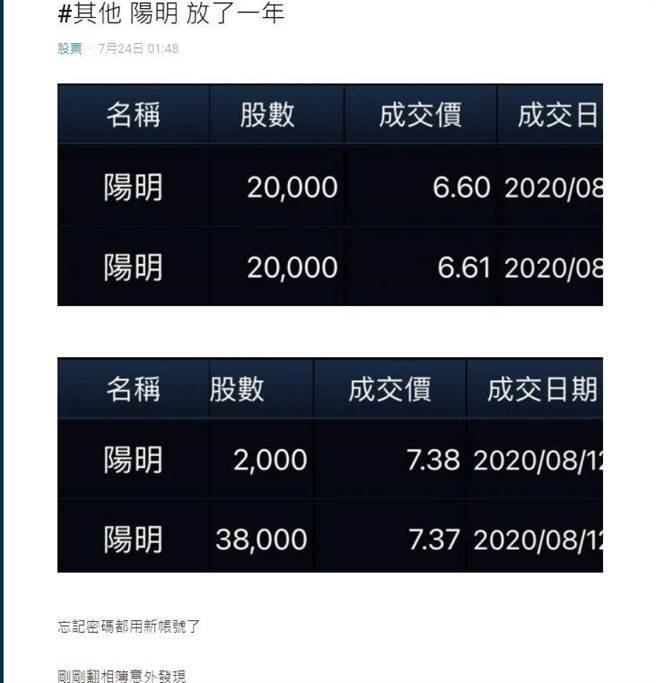 一名網友去年8月分別以每股6元和7.3元的成本價,買進80張陽明。(圖/翻攝自Dcard)